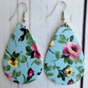 3/$15 Teardrop Faux Leather Earrings Blue Floral